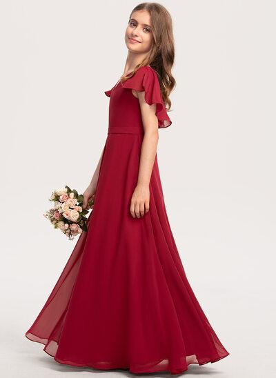 Трапеция V-образный Длина до пола шифон Платье Юнных Подружек Невесты с Ниспадающие оборки