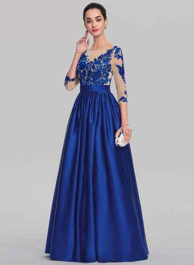 Ball-Gown Scoop Neck Floor-Length Satin Evening Dress With Beading Sequins