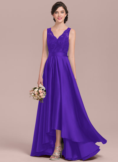 A-Line/Princess V-neck Asymmetrical Satin Lace Prom Dresses With Bow(s)