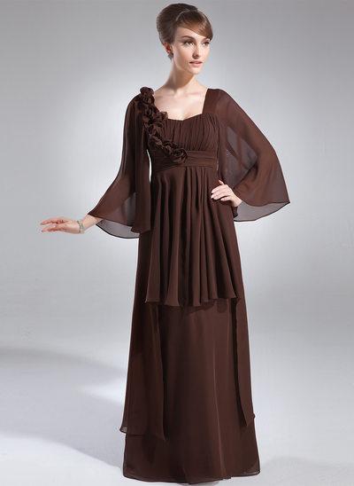 Yüksek Bel Yuvarlak Yaka Uzun Etekli Şifon Gelin Annesi Elbisesi Ile Büzgü Çiçek(ler)