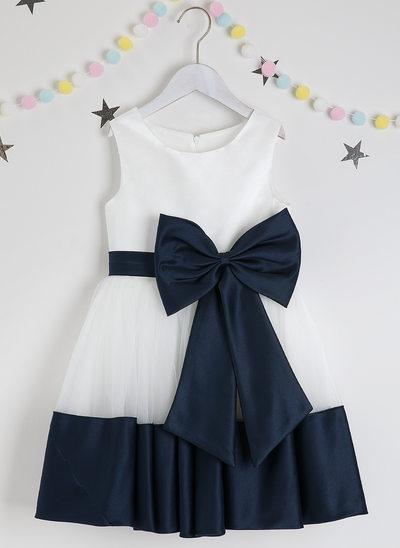 Plesové/Princesový Po kolena Flower Girl Dress - Satén/Tyl Bez rukávů Scoop Neck S Luk