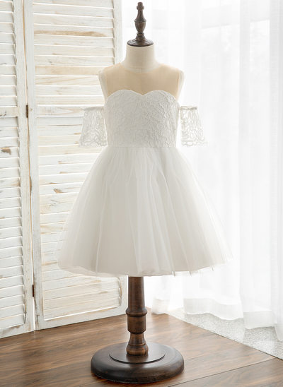 Princesový Po kolena Flower Girl Dress - Tyl/Krajka Krátké rukávy Scoop Neck