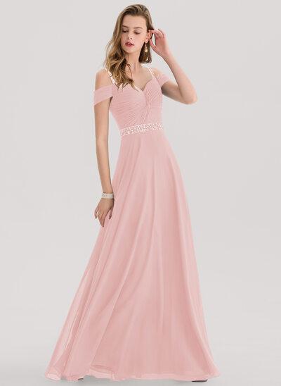 Çan/Prenses Sweetheart Uzun Etekli Şifon Mezuniyet Elbisesi Ile boncuklu kısım Payetler