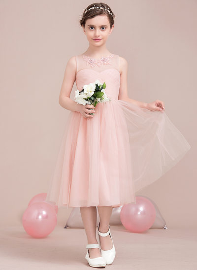 A-Line Scoop Neck Knee-Length Tulle Junior Bridesmaid Dress With Ruffle Lace Beading Sequins