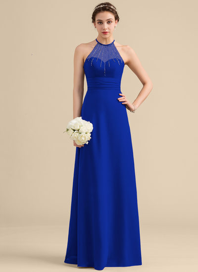 A-Line/Princess Scoop Neck Floor-Length Chiffon Bridesmaid Dress With Beading