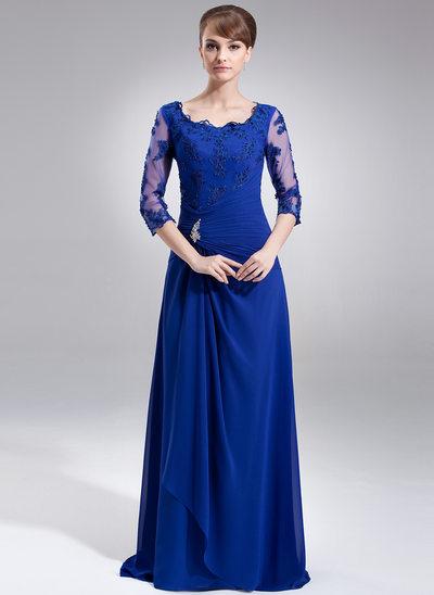 Çan/Prenses Kare Yaka Kuyruklu Chiffon Gelin Annesi Elbisesi Ile Büzgü Boncuklama Aplike