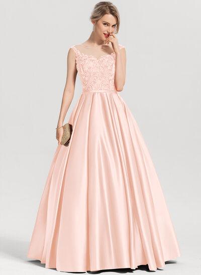 Balo Elbisesi/Prenses Yuvarlak Yaka Uzun Etekli Saten Mezuniyet Elbisesi Ile Payetler