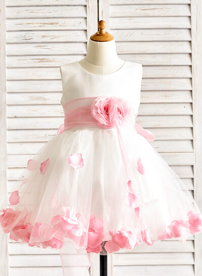 Princesový Po kolena Flower Girl Dress - Organza/Satén/Tyl Bez rukávů Scoop Neck S Květiny