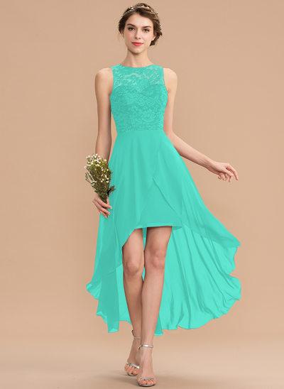 A-Line Scoop Neck Asymmetrical Chiffon Lace Bridesmaid Dress