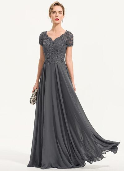 Corte A Decote V Longos Tecido de seda Vestido de festa com Beading