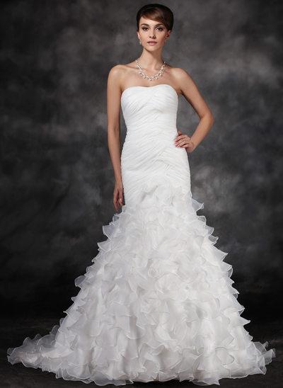 Trompete/Sereia Amada Cauda de sereia Cetim Organza de Vestido de noiva com Pregueado Babados em cascata
