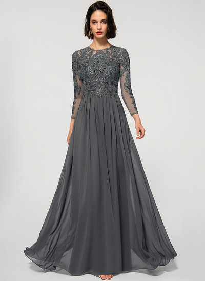 Corte A Decote redondo Longos Tecido de seda Renda Vestido de festa com lantejoulas