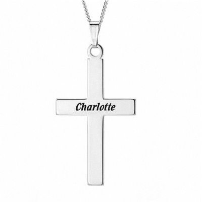 Custom Silver Religious Cross Plate Engraved Necklace