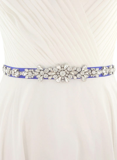 Elegant Satin Belt With Rhinestones