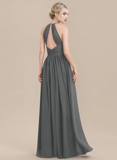 A-Line/Princess Scoop Neck Floor-Length Chiffon Bridesmaid Dress With Ruffle