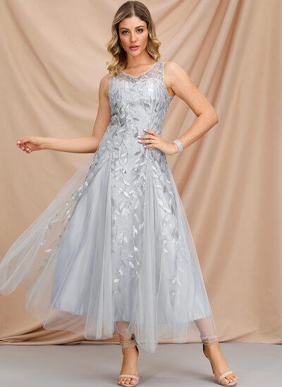 Трапеция V-образный Длина по щиколотку Платье для Встречи Выпускников