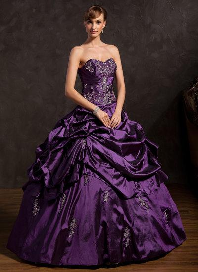 Duchesse-Linie Herzausschnitt Bodenlang Taft Quinceañera Kleid (Kleid für die Geburtstagsfeier) mit Bestickt Rüschen Perlen verziert
