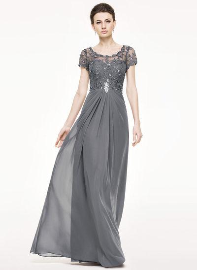 Vestidos princesa/ Formato A Decote redondo Longos Tecido de seda Renda Vestido para a mãe da noiva com Pregueado Beading lantejoulas