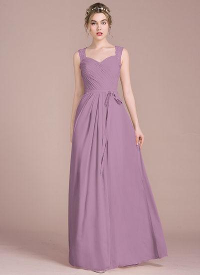 Vestidos princesa/ Formato A Amada Longos Tecido de seda Vestido de baile com Pregueado Renda Beading lantejoulas Curvado