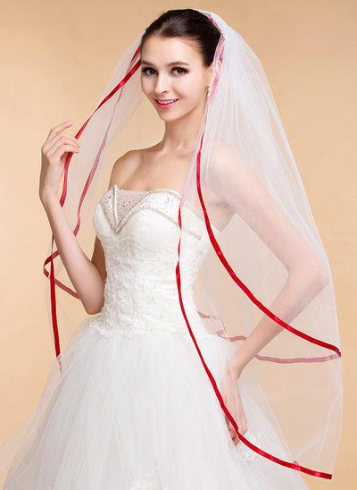 Two-tier Ribbon Edge Waltz Bridal Veils With Ribbon