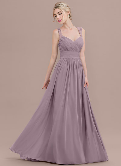 A-Line/Princess Sweetheart Sweep Train Chiffon Prom Dress With Ruffle Lace