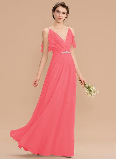 A-Line V-neck Floor-Length Chiffon Bridesmaid Dress With Beading Sequins Cascading Ruffles