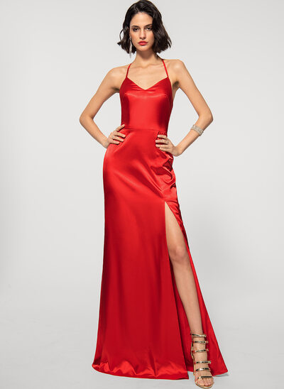 Sheath/Column Halter Floor-Length silk like satin Evening Dress With Split Front