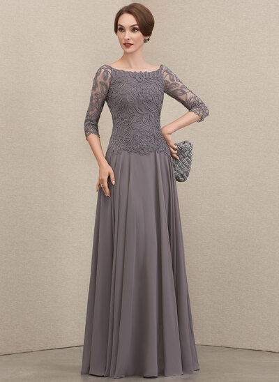 A-Line Off-the-Shoulder Floor-Length Chiffon Lace Mother of the Bride Dress