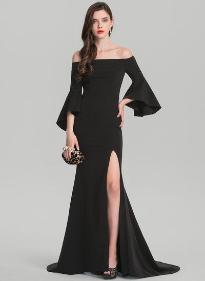 Sheath/Column Off-the-Shoulder Sweep Train Satin Evening Dress With Split Front