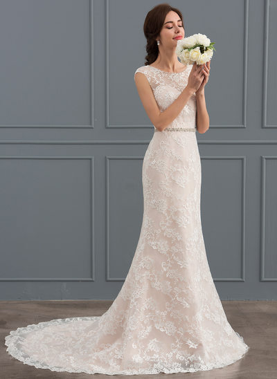 Trumpet/Mermaid Scoop Neck Court Train Lace Wedding Dress With Beading