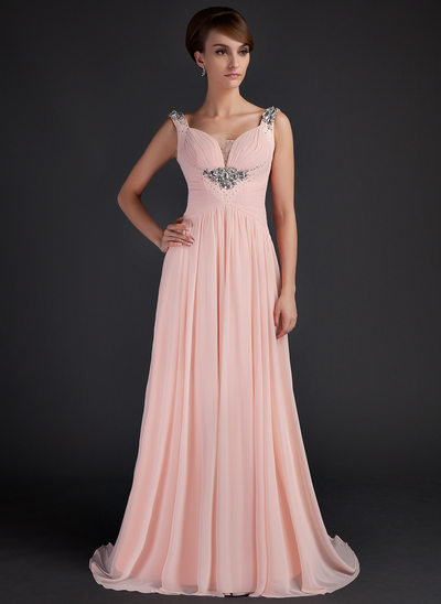 A-Line/Princess Scoop Neck Sweep Train Chiffon Mother of the Bride Dress With Ruffle Beading
