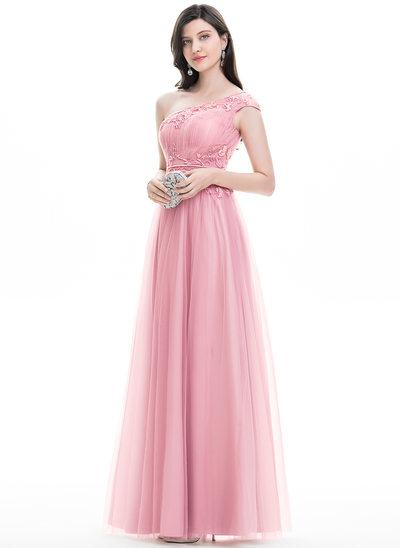A-Linie/Princess-Linie Eine Schulter Bodenlang Tüll Abiballkleid mit Lace Perlstickerei Pailletten