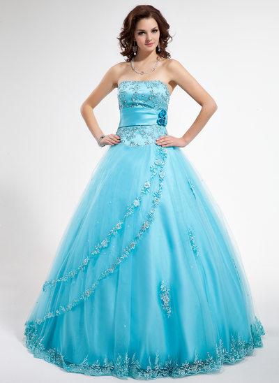 Corte de baile Sin tirantes Hasta el suelo Tul Vestido de quinceañera con Cuentas Los appliques Encaje Flores Lentejuelas