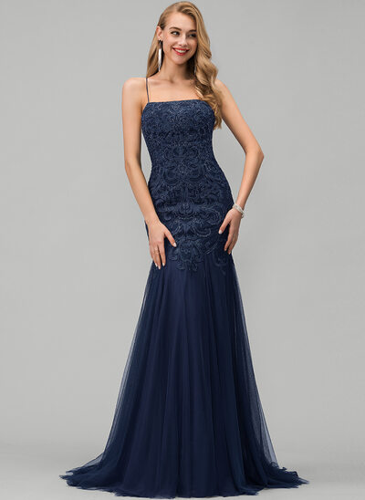 Trumpet/Mermaid Square Neckline Sweep Train Tulle Evening Dress With Lace Sequins