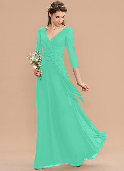 A-Line V-neck Floor-Length Chiffon Bridesmaid Dress With Ruffle Bow(s)