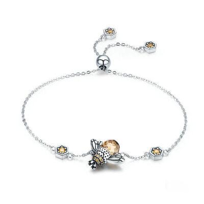 Platino Placcato Link & Chain Braccialetti con ciondoli Braccialetti Bolo - Regali Di San Valentino Per Lei