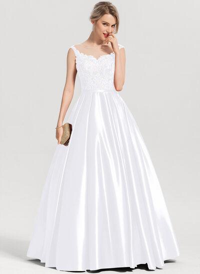 De Baile/Princess Decote redondo Longos Cetim Vestido de baile com lantejoulas