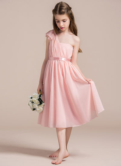 A-Line/Princess One-Shoulder Tea-Length Chiffon Junior Bridesmaid Dress With Ruffle Bow(s)