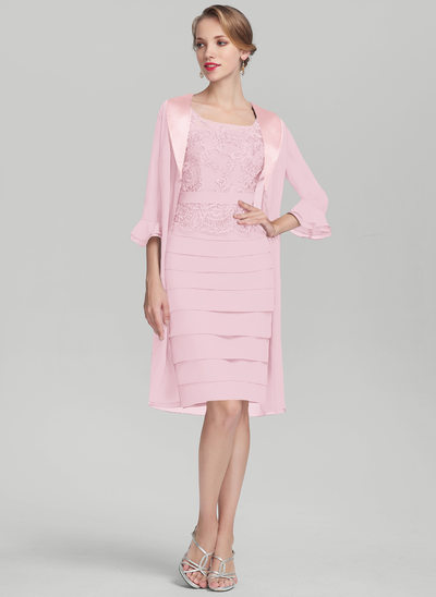 Sheath/Column Scoop Neck Knee-Length Chiffon Lace Mother of the Bride Dress With Ruffle