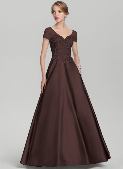 A-Line/Princess V-neck Floor-Length Satin Lace Mother of the Bride Dress With Beading Sequins
