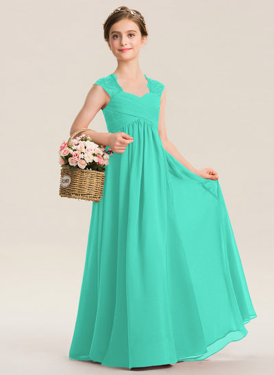 A-Line Sweetheart Floor-Length Chiffon Lace Junior Bridesmaid Dress With Ruffle