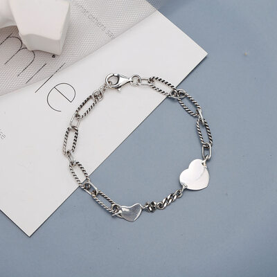 Antioxidante Cadena de enlace Bracelets De Chaîne con Corazón -