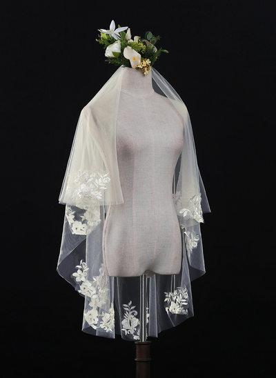 Uma camada Corte da borda Valsa nupcial véus com Renda
