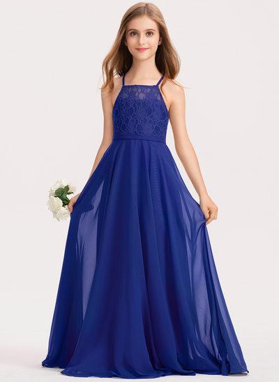 A-Linie Rechteckiger Ausschnitt Bodenlang Chiffon Spitze Kleid für junge Brautjungfern