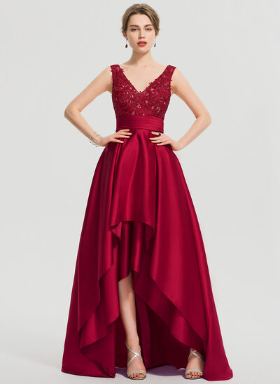 A-Line V-neck Asymmetrical Satin Homecoming Dress With Ruffle Sequins