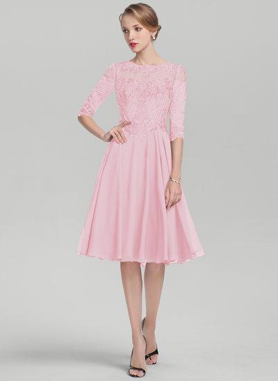 A-Linie/Princess-Linie U-Ausschnitt Knielang Chiffon Spitze Kleid für die Brautmutter mit Pailletten