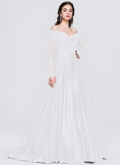 De Baile/Princess Off-the-ombro Sweep/Brush trem Cetim Vestido de baile com Beading