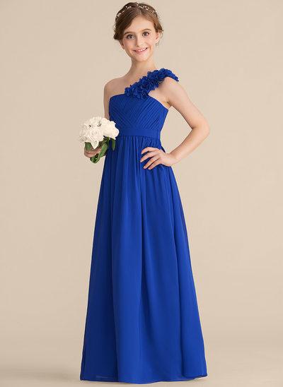 A-Linie/Princess-Linie Eine Schulter Bodenlang Chiffon Kleid für junge Brautjungfern mit Rüschen Blumen
