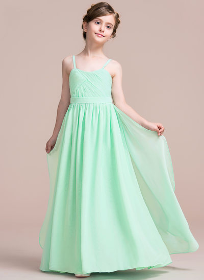 Vestidos princesa/ Formato A Amada Longos Tecido de seda Vestido de daminha júnior com Babados em cascata