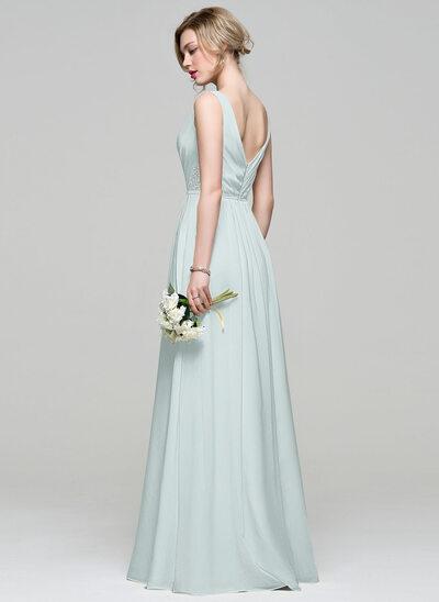 A-Line/Princess V-neck Floor-Length Chiffon Bridesmaid Dress With Ruffle Lace Beading Sequins
